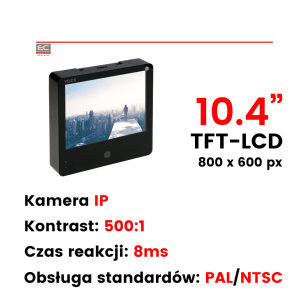 "VMT-105PSD - Monitor 10.4"", 1 x Video out, pilot, wbudowana kamera IP"