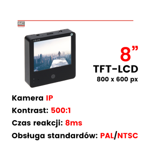 "VMT-085PSD - Monitor 8"", 1 x Video out, pilot, wbudowana kamera IP"